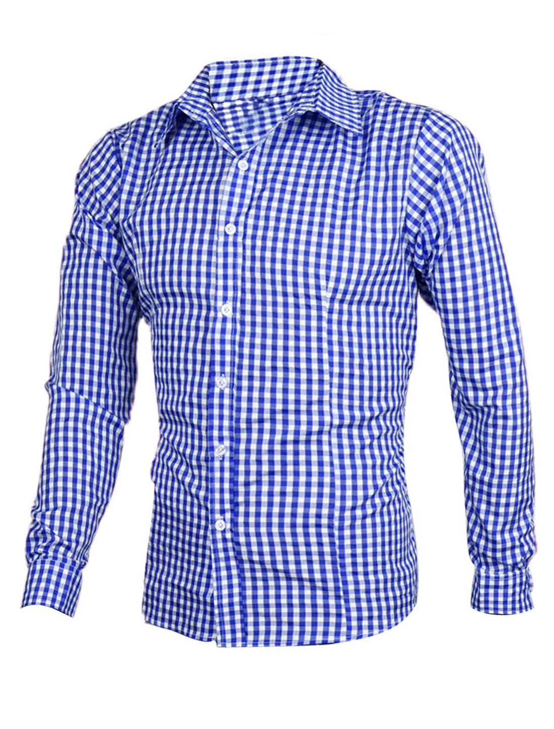Men Buttoned Cuff Point Collar Plaids Long-sleeved Shirt White Blue M