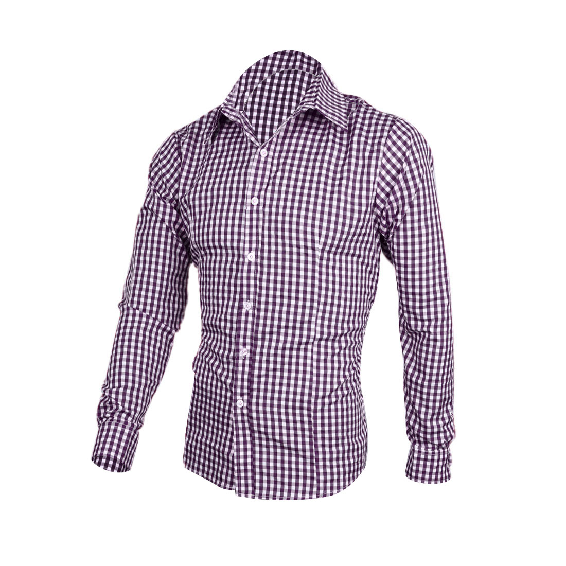 Man Long Sleeve Point Collar Check Pattern Shirt White Purple M