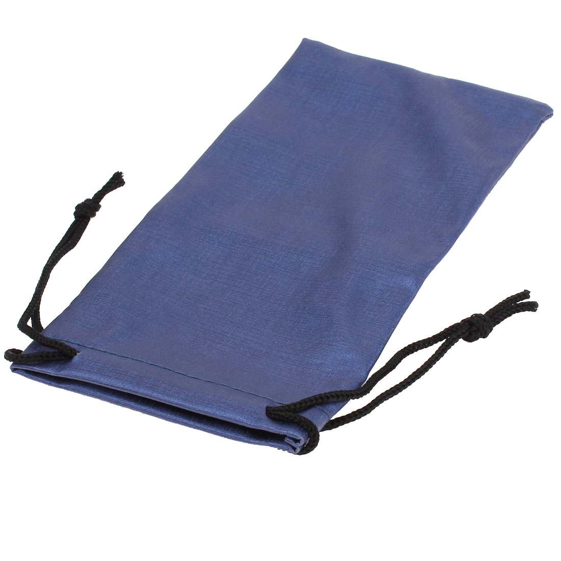 Blue Drawstring Closure Flannel Lining Pouch Sunglasses Holder Bag Pouch