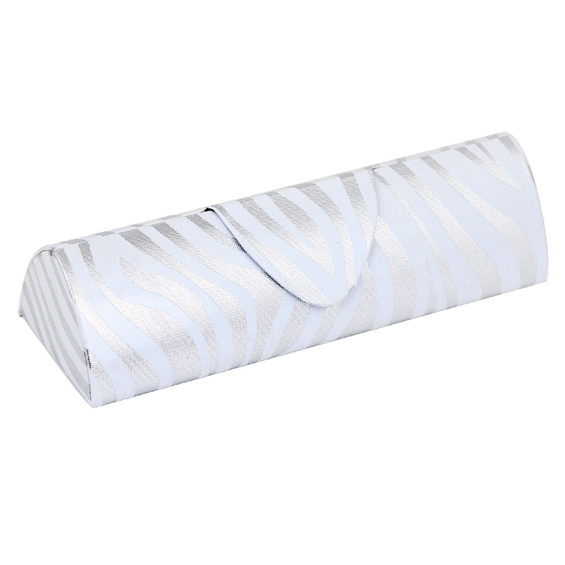 Silver Tone White Zebra Pattern Magnetic Button Eyeglasses Box Case Container