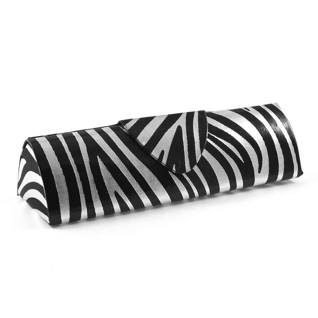 Silver Tone Black Zebra Print Magnetic Closure Eyeglasses Box Case Holder