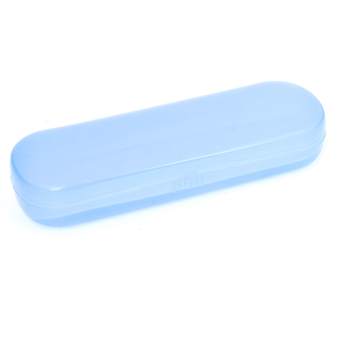 Oval Rectangle Hard Plastic Eyeglasses Case Box Container Light Blue