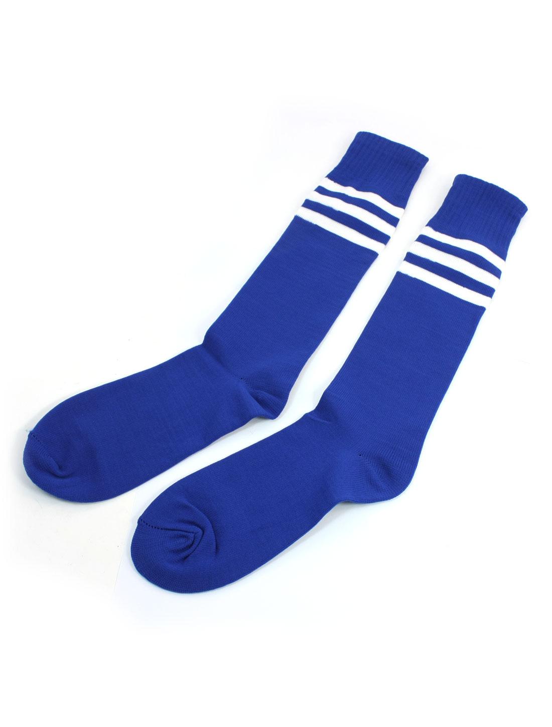 Pair Knee High Striped Stretch Soccer Football Sports Socks White Blue for Men