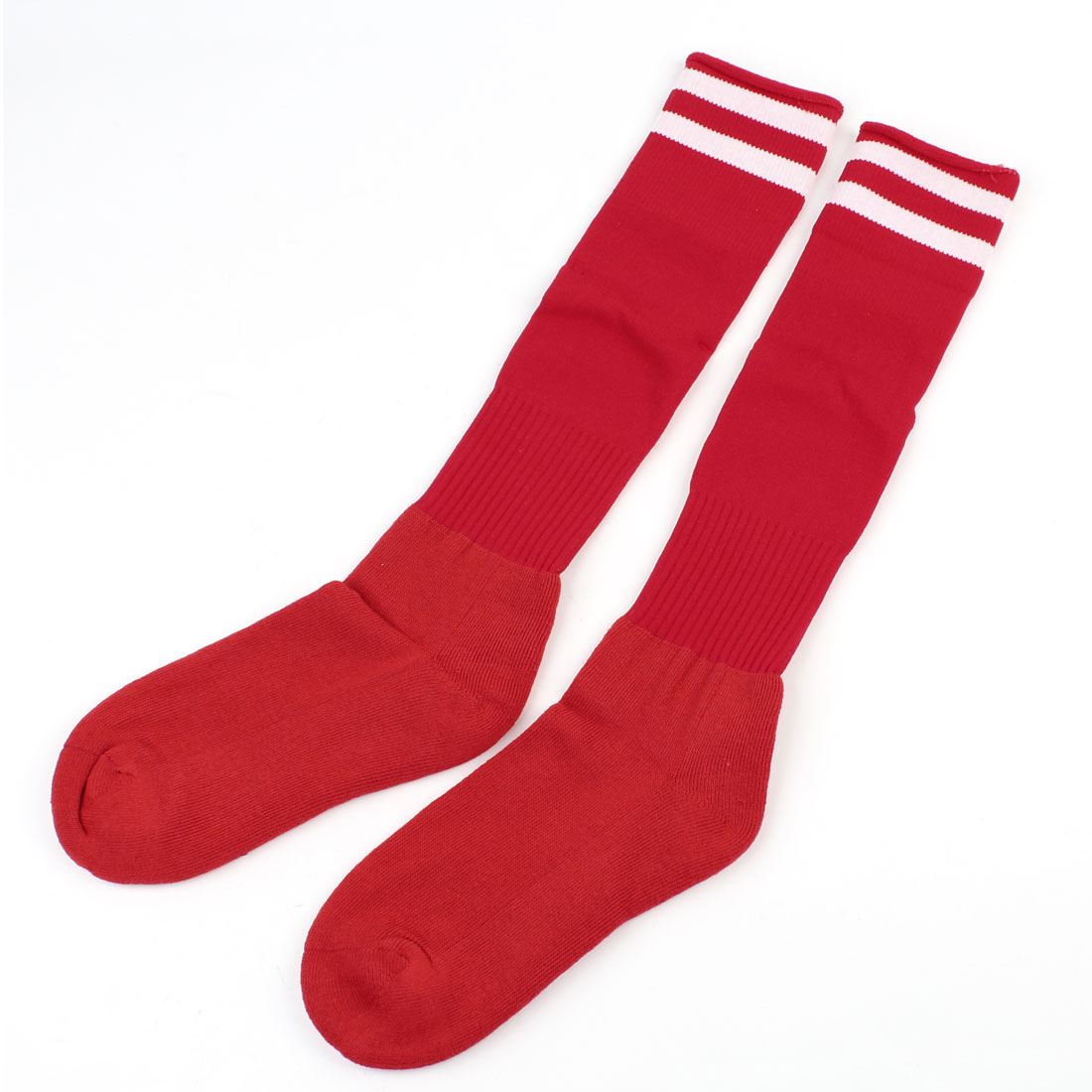 Pair Knee High Striped Elastic Soccer Football Sports Socks White Red for Boy