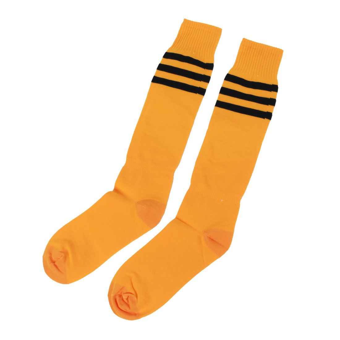 Men Knee High Striped Elastic Soccer Rugby Football Socks Orange Black Pair