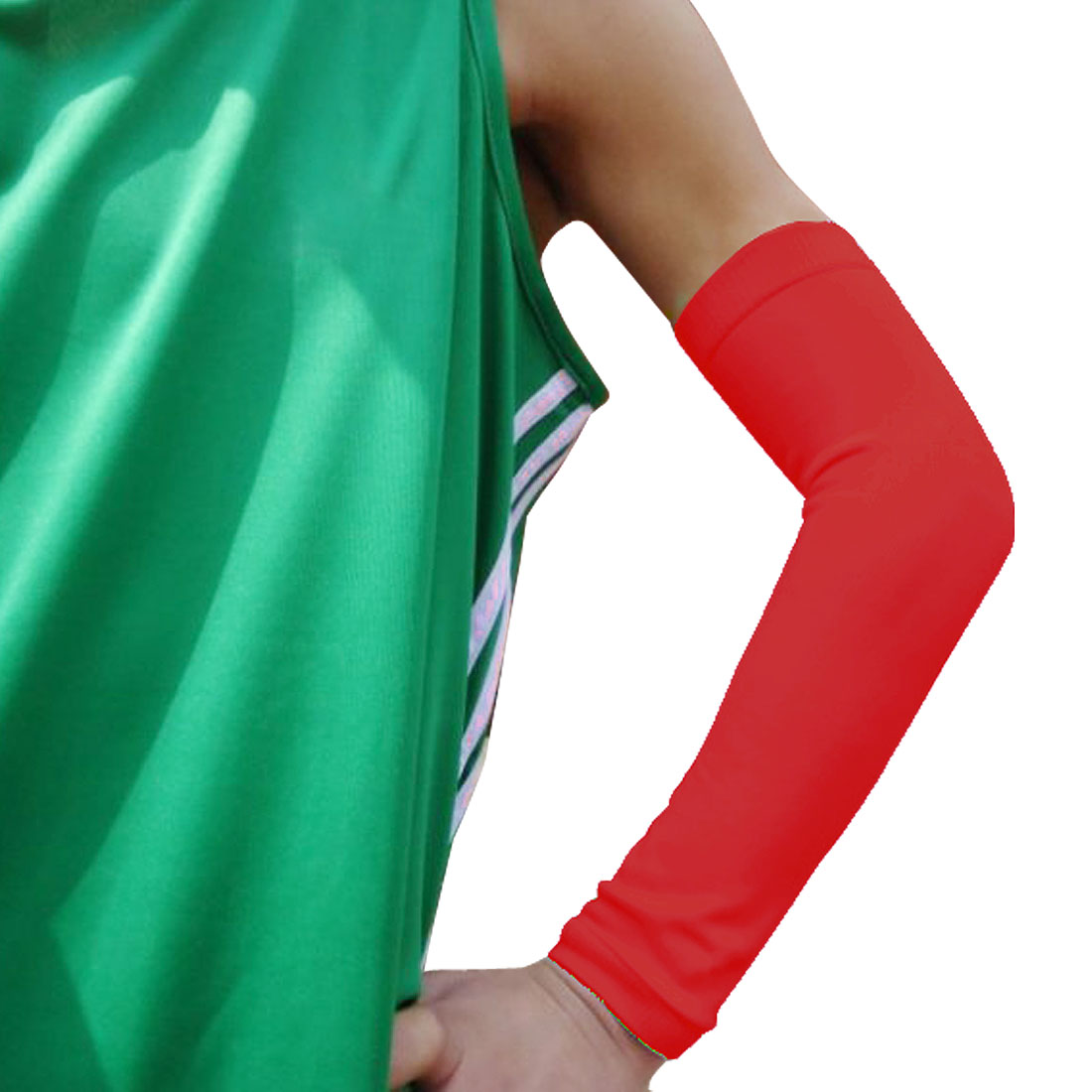 Tennis Basketball Stretchy Pull Over Sleeve Elbow Protective Support Red