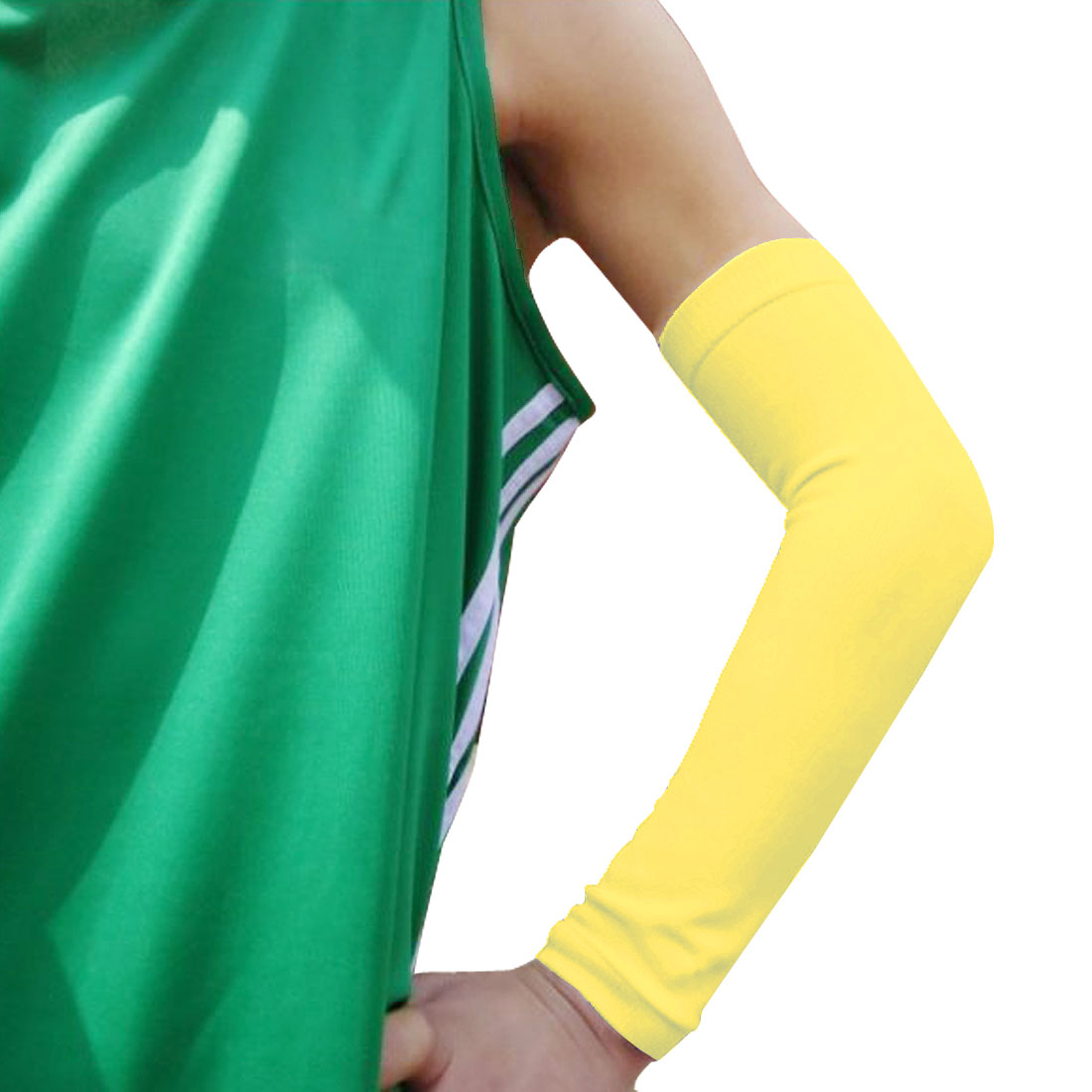 Outdoors Sports Elastic Fabric Breathable Wrap Elbow Support Protector Yellow