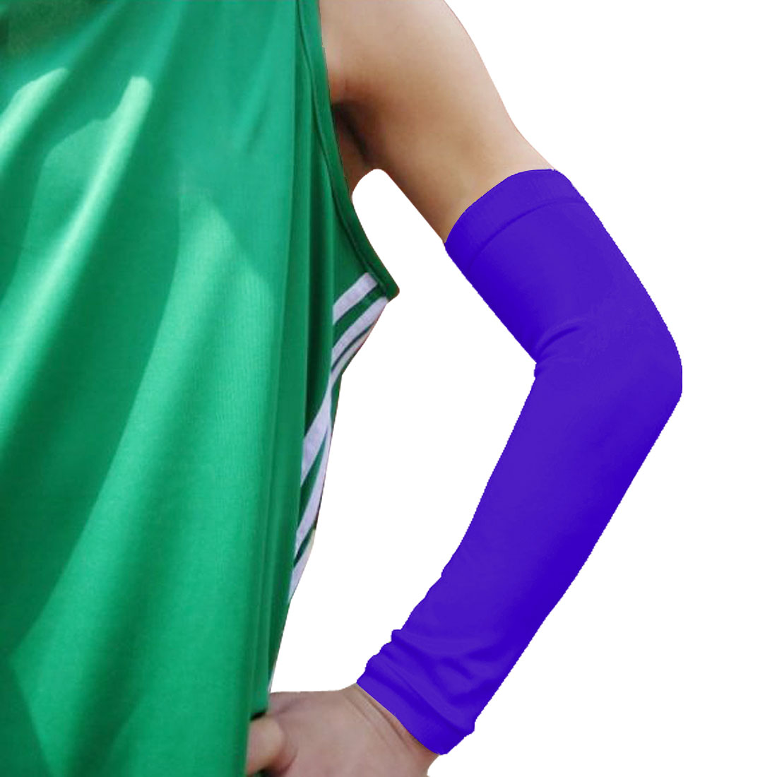 Dark Blue Cotton Blends Compressive Pullover Protective Arm Elbow Brace Support