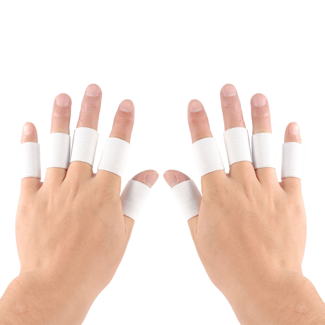 10 Pcs White Elastic Fingerband Sports Athletic Tennis Finger Protector