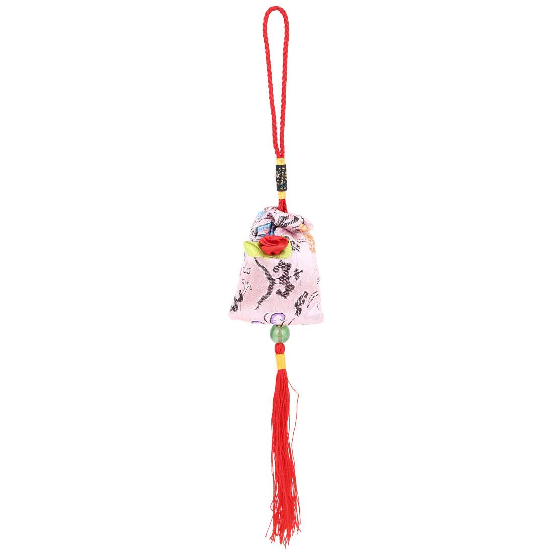 Auto Decoration Red Braid Nylon Strap Pink Sachet Pendant Hanging Ornament