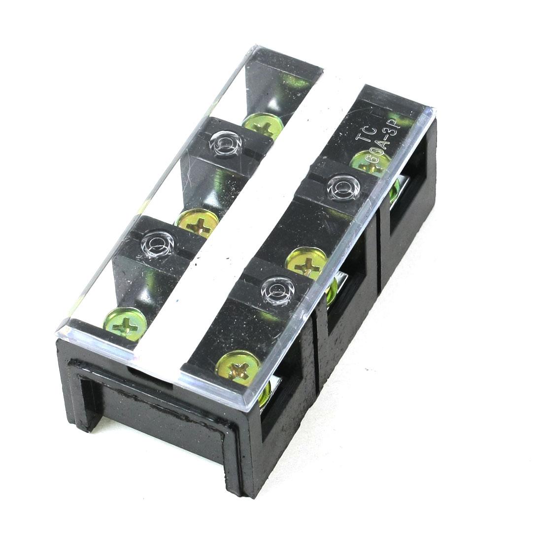 600V 60A Dual Row 3 Positions Barrier Screw Terminal Block TC-603