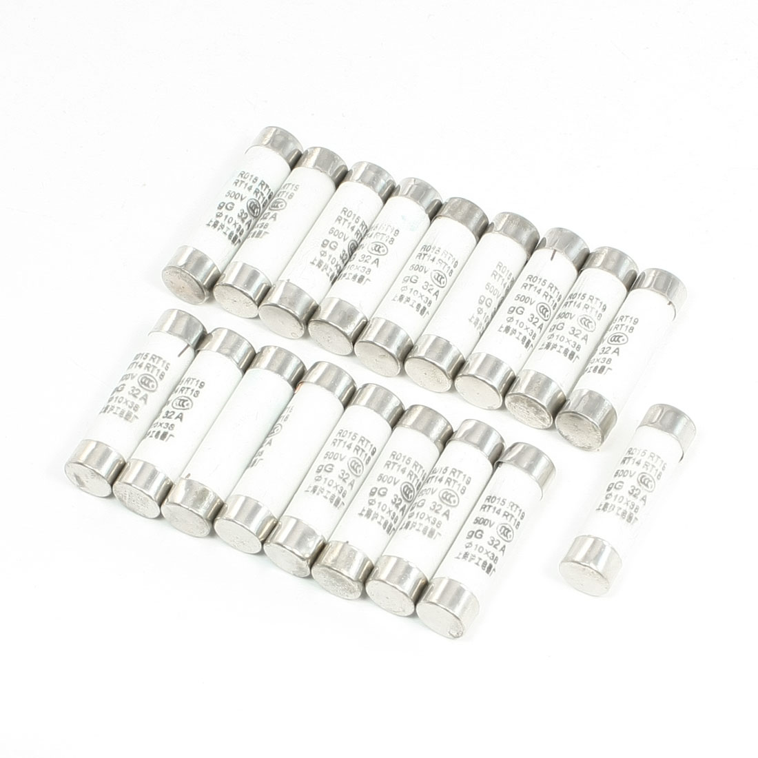 20 Pcs 10mmx38mm Quick Fast Blow Ceramic Fuse Links 32A 500VAC RT19 RT14 RT18