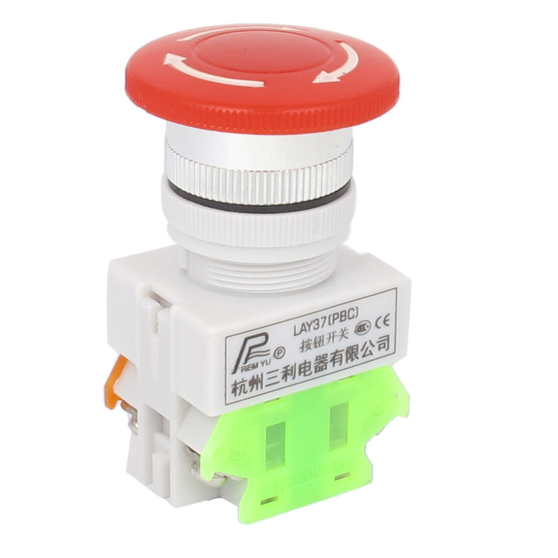 AC 600V 10A 1NO 1NC DPST Latching Turn Round Emergency Stop Push Button Switch