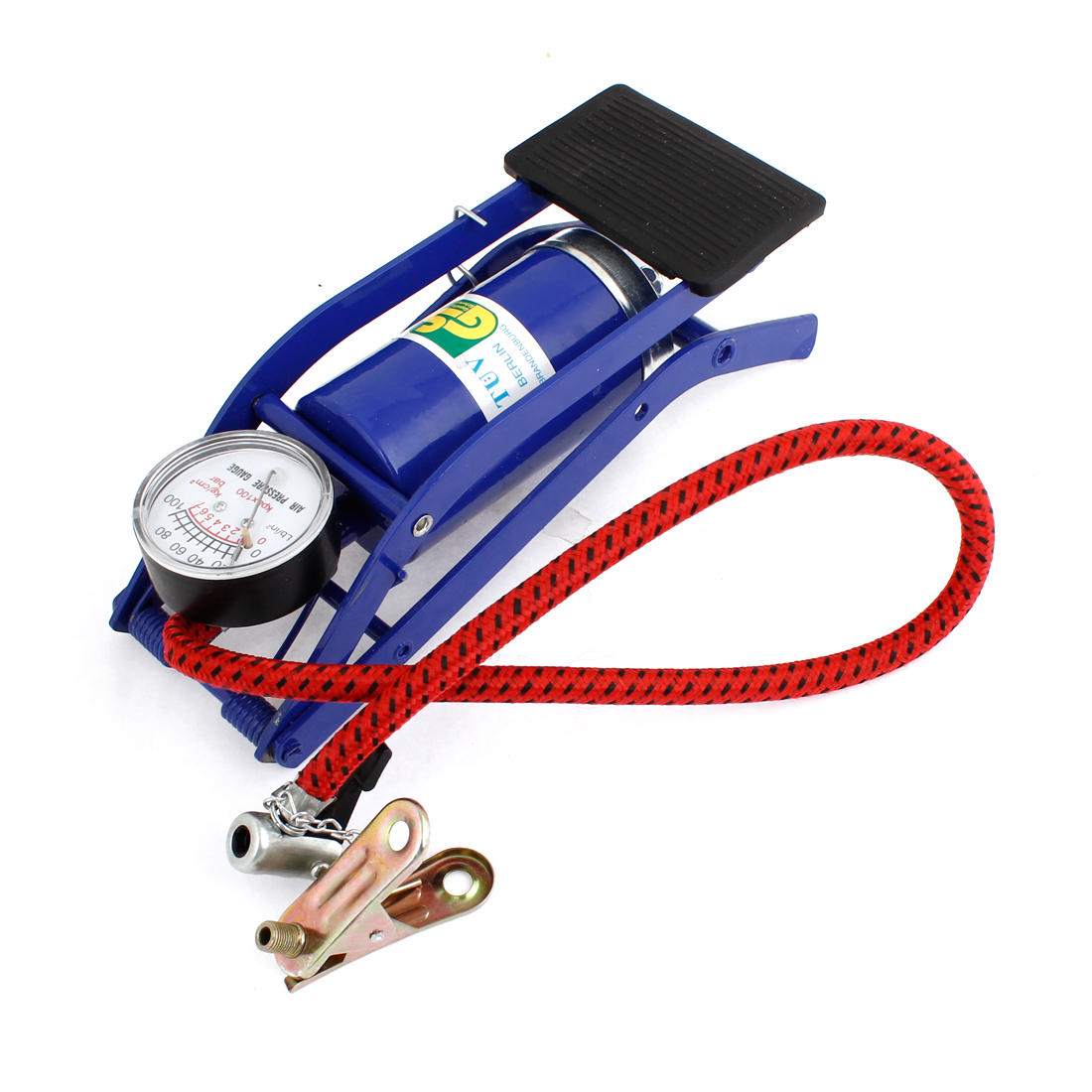 Blue Metallic Foot Pump Air Pressure Gauge for Bike Bicycle Football