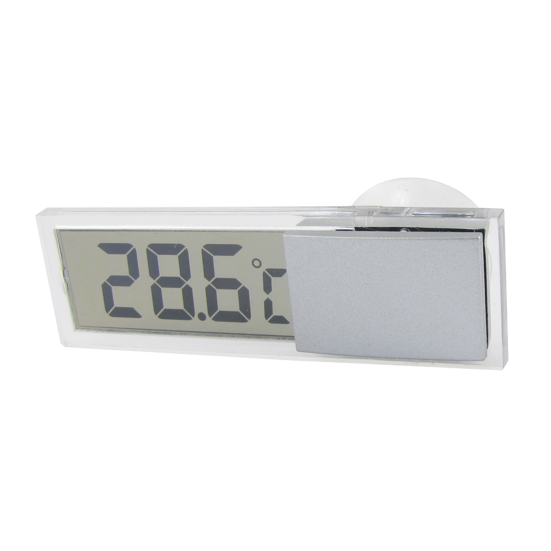 Truck Car Gray Plastic Casing Suction Cup Clear LCD Display Thermometer