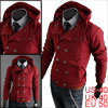 Mens Burgundy Long Sleeves Textured Button Leisure Hooded Coat M