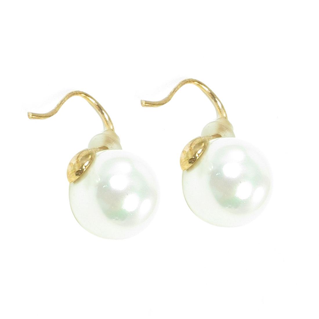 """2 Pcs 0.4"""" Dia Faux Pearl Decor Fish Hook Earring White Gold Tone for Women"""