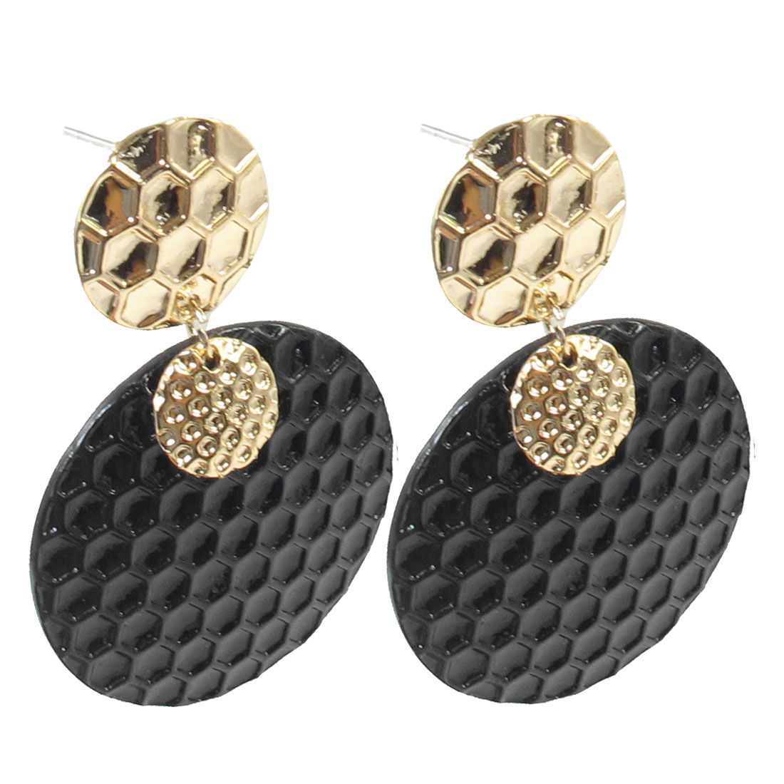 Ladies 2 Pcs Retro Style Black Round Pandent Gold Tone Metal Earbobs Earrings