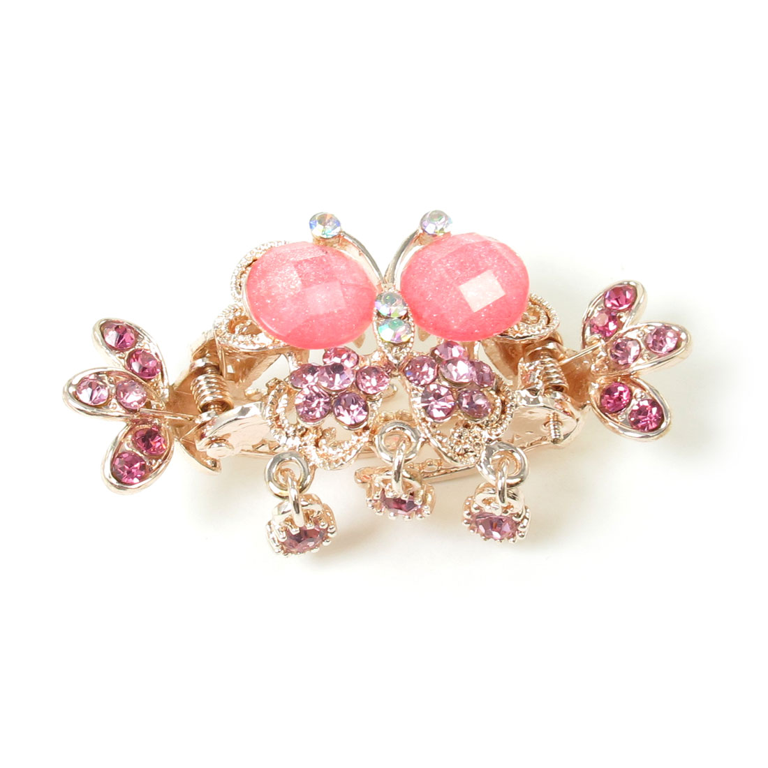 Woman Pink Rhinestone Inlaiding Crab Shape Metal Hairclip Hair Claw Clamp