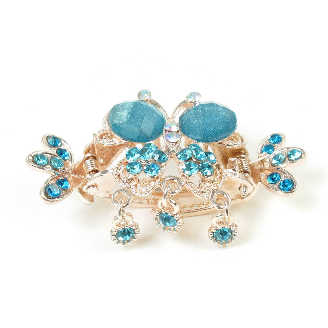 Butterfly Decor Sky Blue Gold Tone Hair Claw Clamp Hairclip for Woman