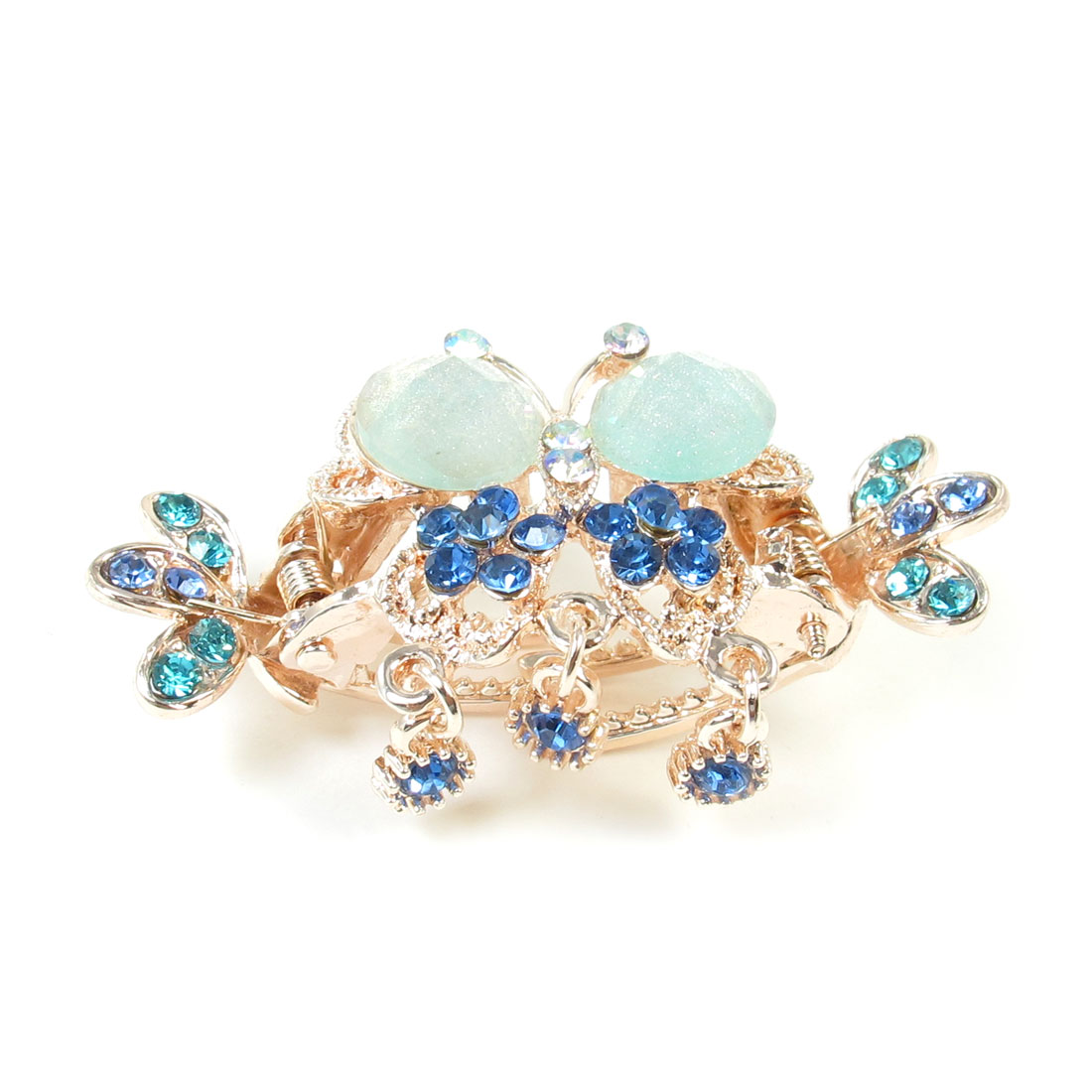 Lady Light Blue Faux Crystal Inlaid Butterfly Decor Hair Claw Clamp Clip
