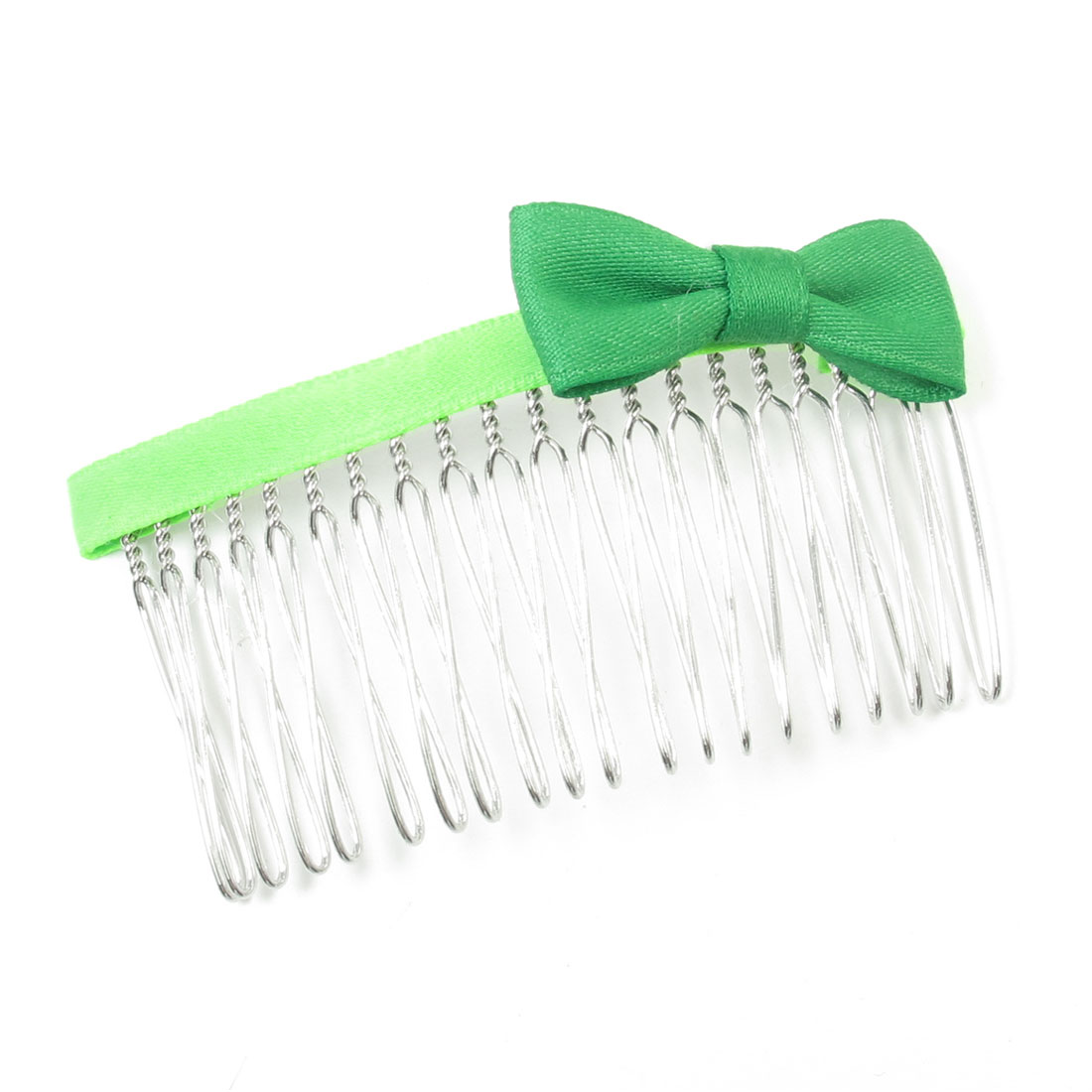 7.5cm Long Two Tone Green Bowknot Accent Metal Hair Comb Clip Clamp for Women