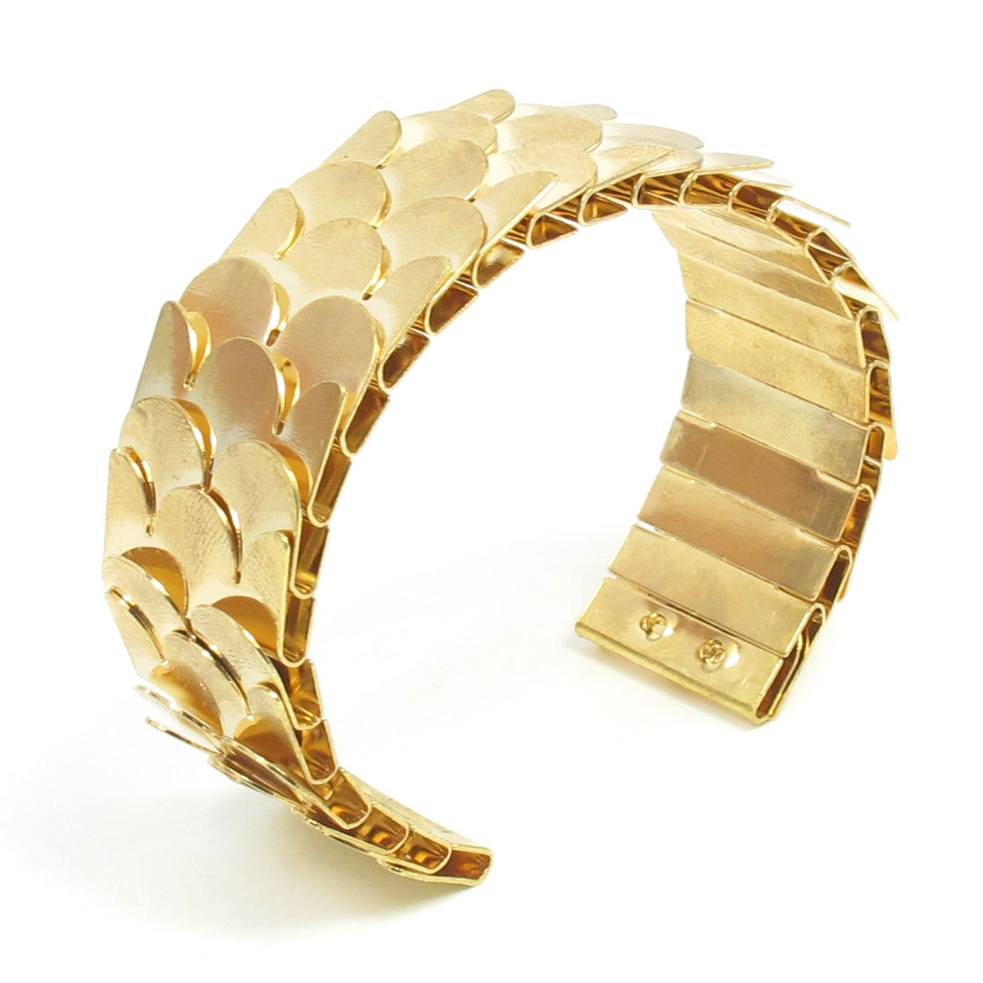 Gold Tone Alloy Fish Scale Open Cuff Wrist Wristlet Bracelet Bangle for Ladies