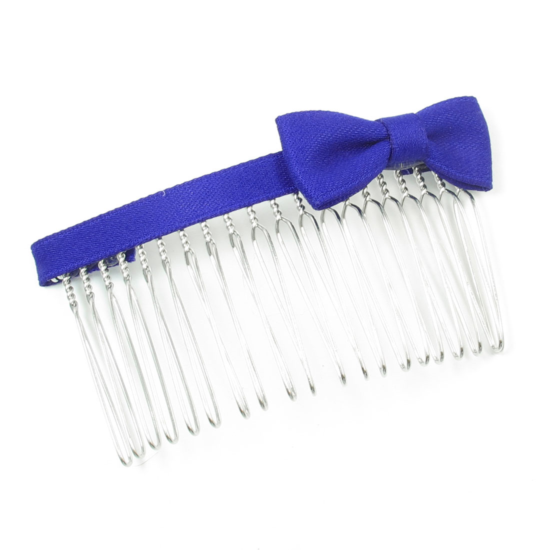 Blue Nylon Bowknot Detail Metal Comb Hair Clip Clamp for Woman
