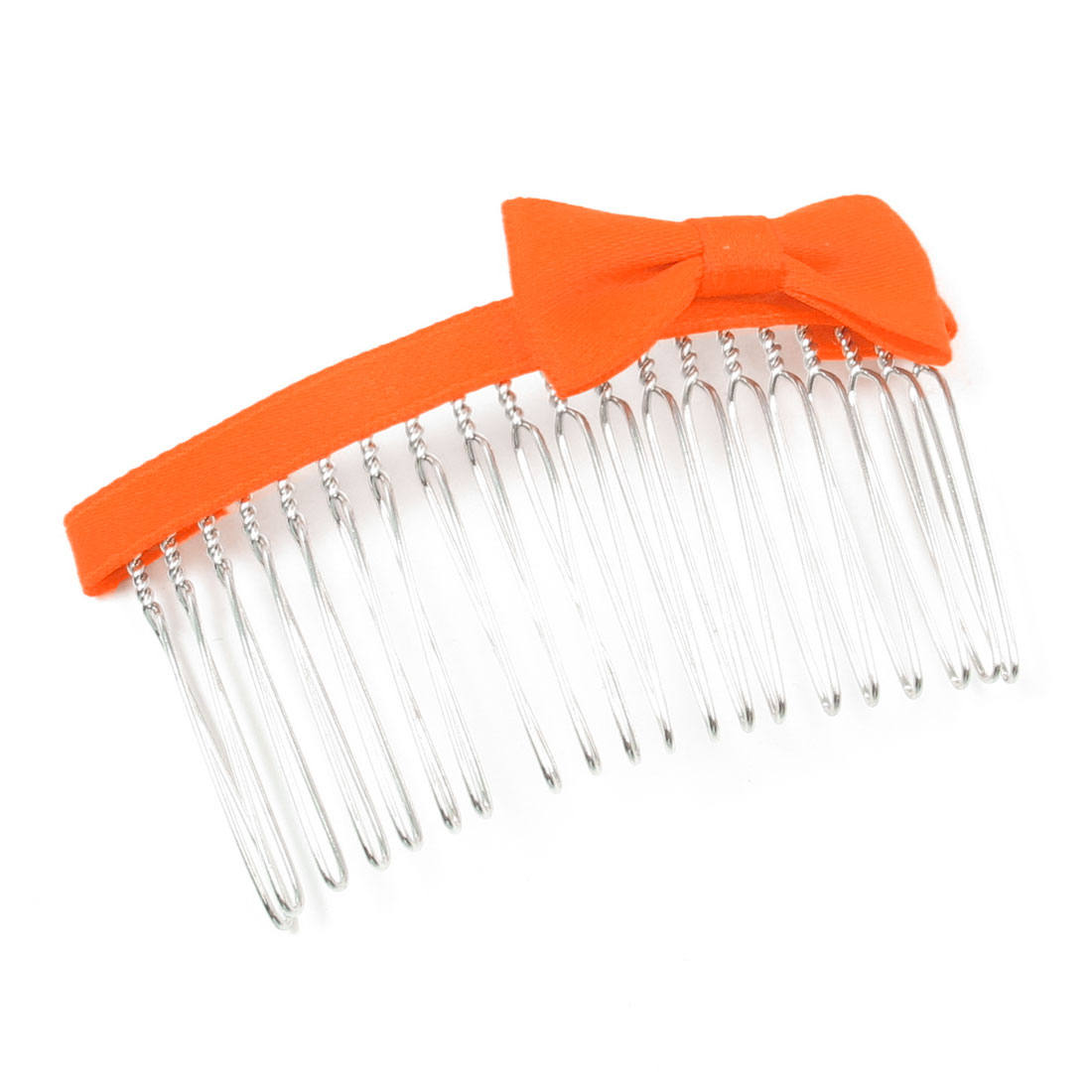 Orange Nylon Bowknot Decoration Metal Hair Comb Clip Clamp for Woman