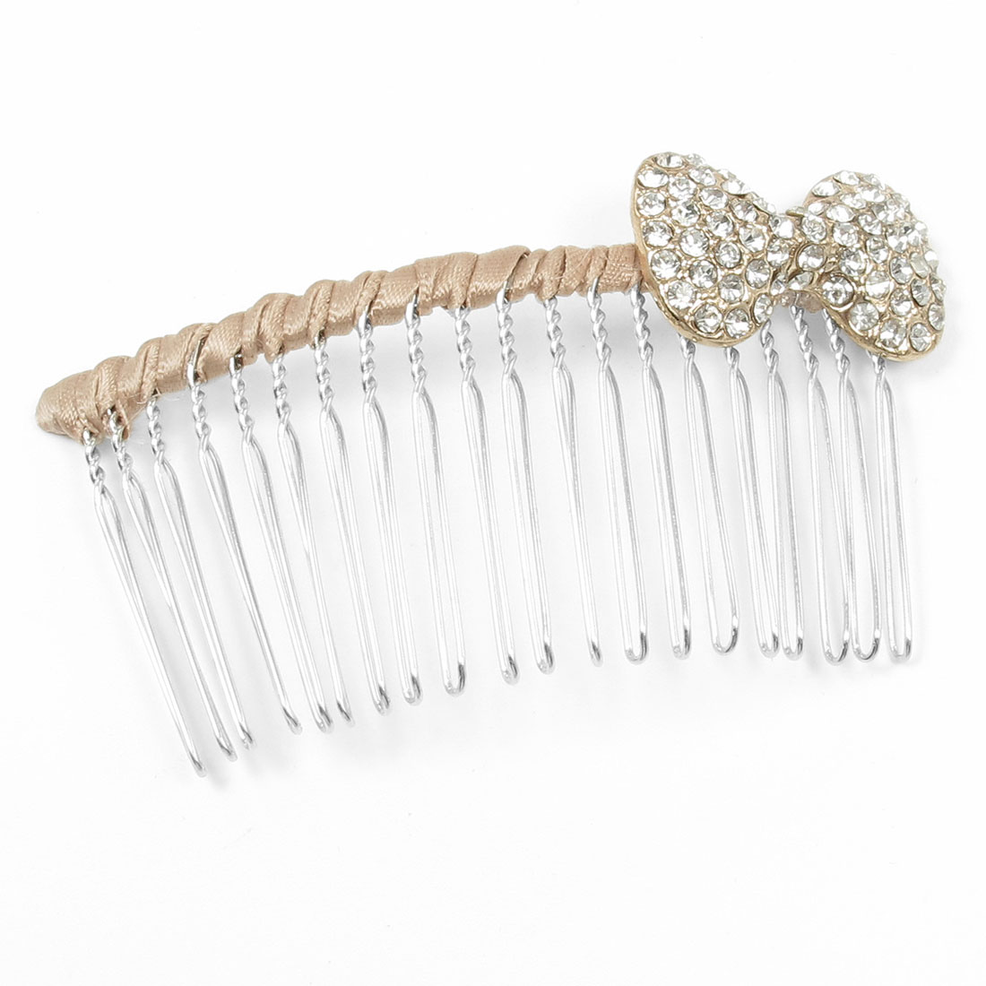 Butterfly Decor Metal Teeth Khaki Silver Tone Hair Comb Clip for Woman Ladies