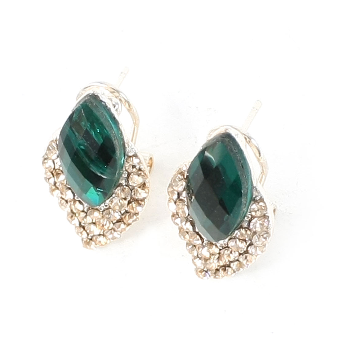 Women Dark Green Oval Rhinestone Inlaid Gold Tone Faux Crystal Detail Metal French Clip Stud Earrings