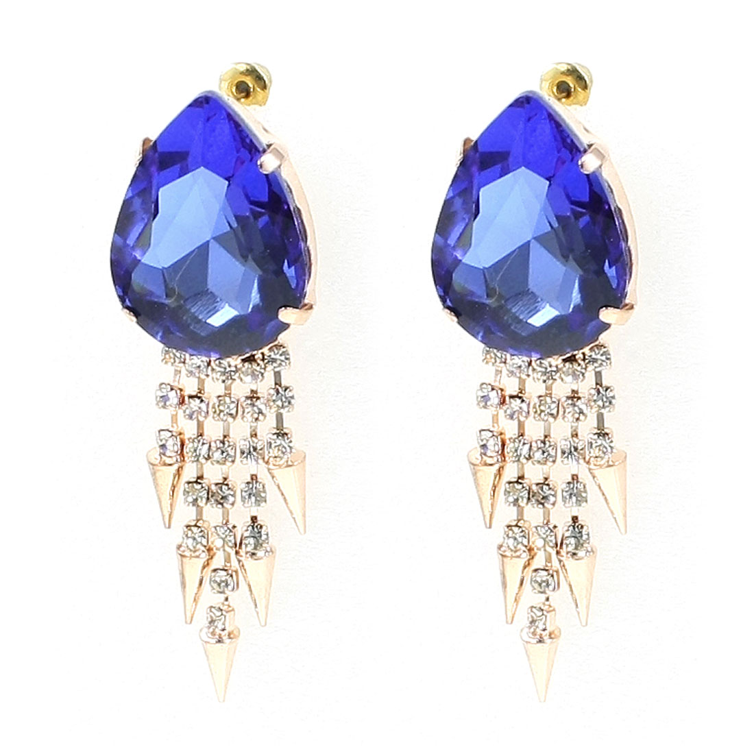 Women Blue Oval Shape Rhinestone Faux Crystal Pendent Decor Stud Earrings