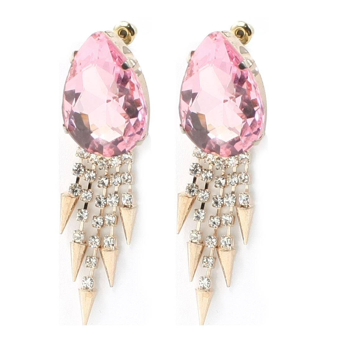 Women Pink Oval Shape Rhinestone Faux Crystal Pendent Decor Stud Earrings