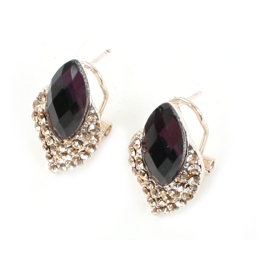Eggplant Oval Rhinestone Inlaid Gold Tone Faux Crystal Detail Metal French Clip Stud Earrings for Lady