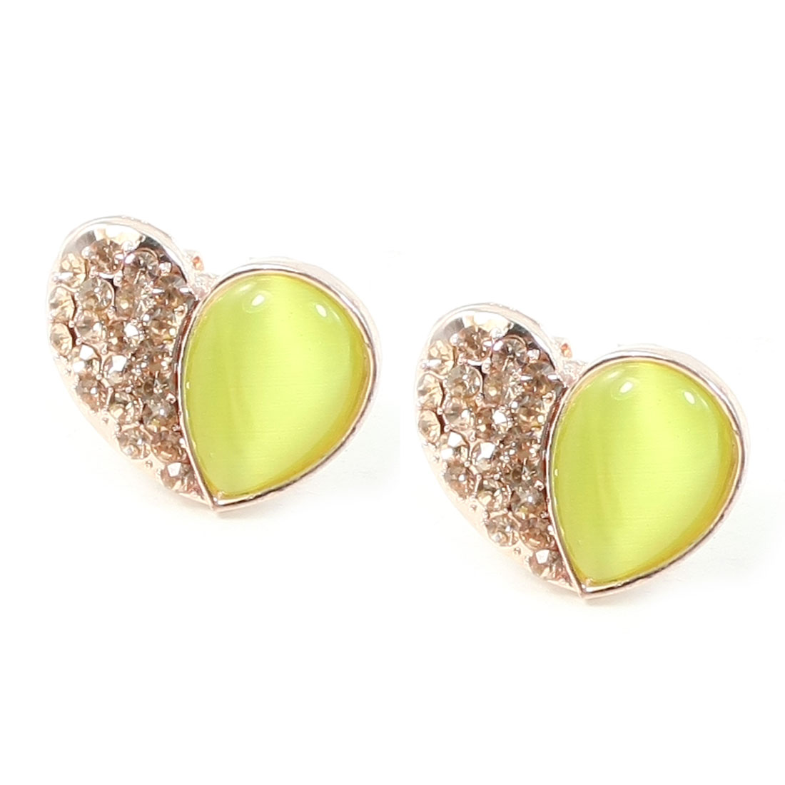 Women Green Rhinestone Inlaid Plastic Crystal Decor Heart Design Spring Hook Earrings