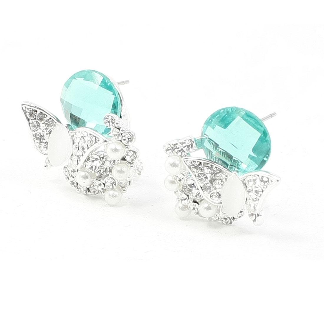 Women Light Blue Rhinestone Inlaid Faux Crystal Decor Silver Tone Butterfly Design Earrings