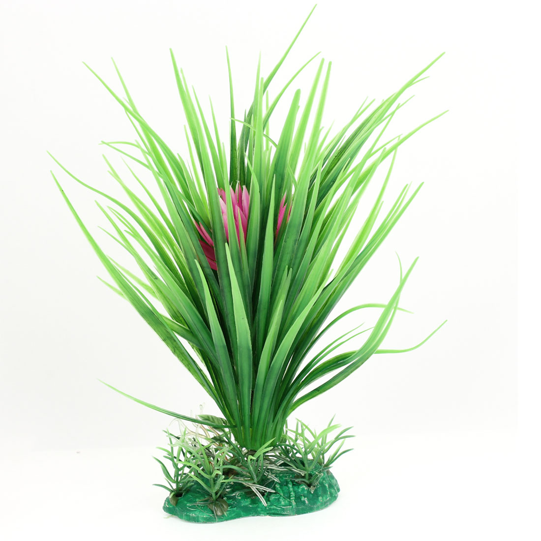 Ceramic Base 20cm High Emulational Green Grass Pink Flower Plant for Aquarium