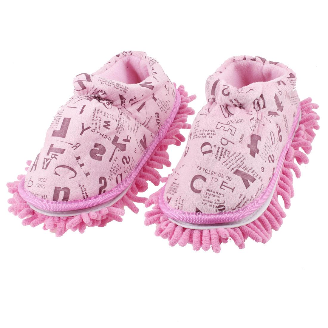 Pair Letter Print Microfiber Dust Floor Clean Winter Mop Slippers Shoes Pink