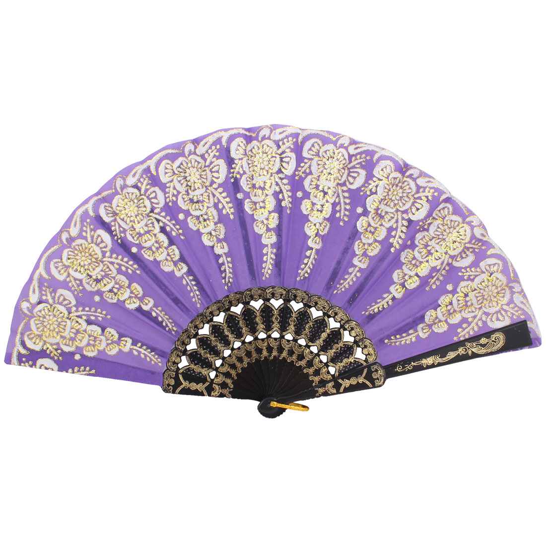 Nylon Hollow Out Handle Plastic Purple Folding Metal Ring Hand Fan