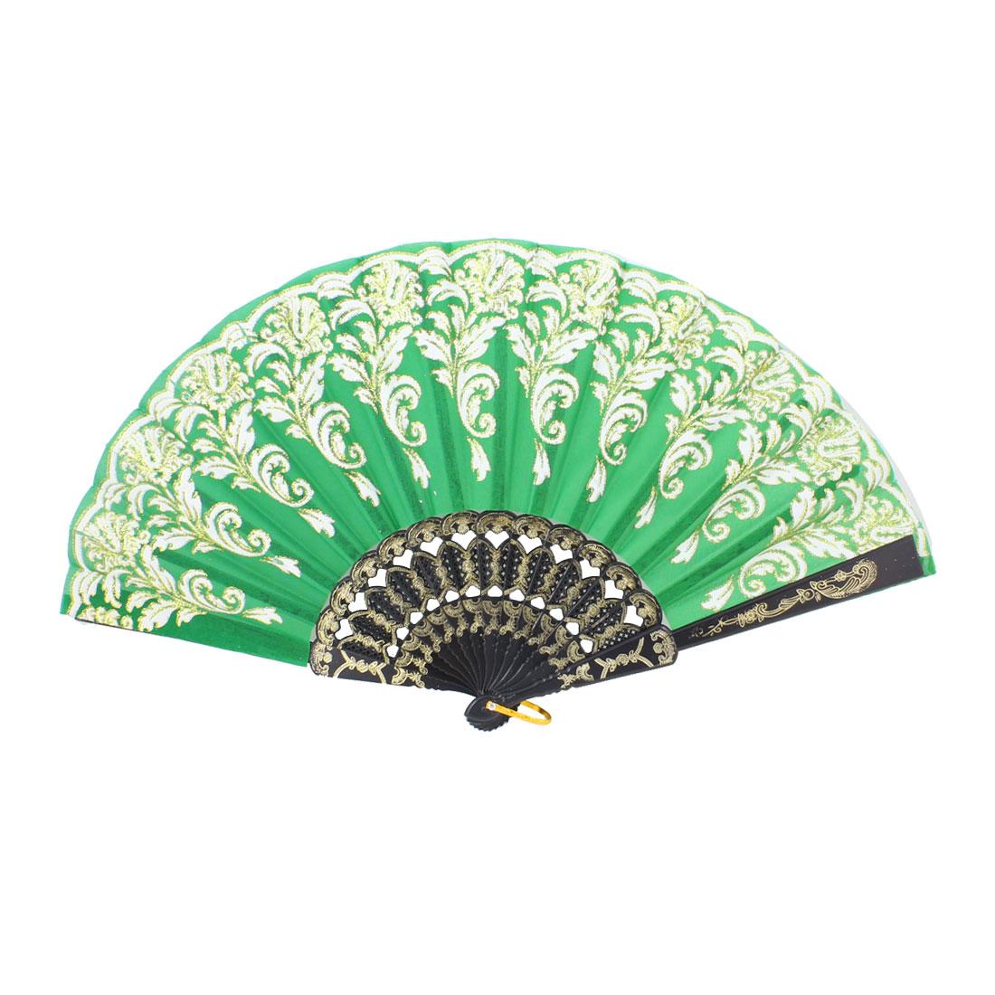 Green Nylon Black Plastic Rib White Flower Foldable Hand Fan w Ring