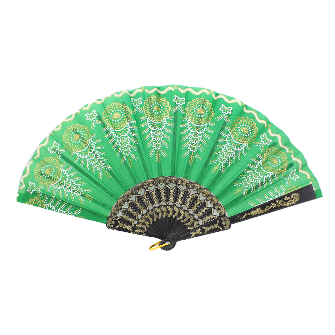 Gold Tone Flower Decor Green Nylon Black Plastic Foldup Hand Fan w Ring
