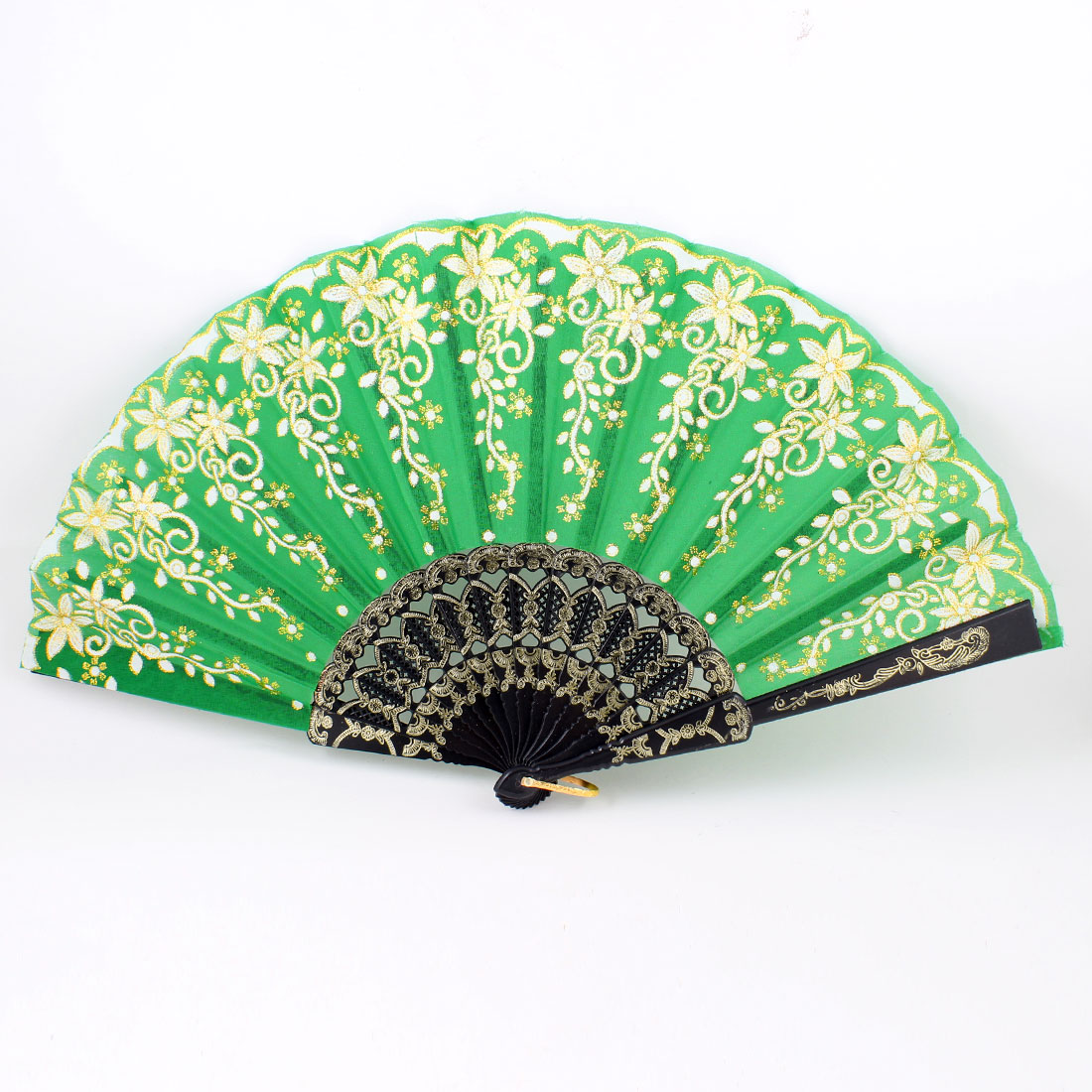 Gold Tone Floral Embossed Frame Glitter Green Foldup Hand Fan w Ring
