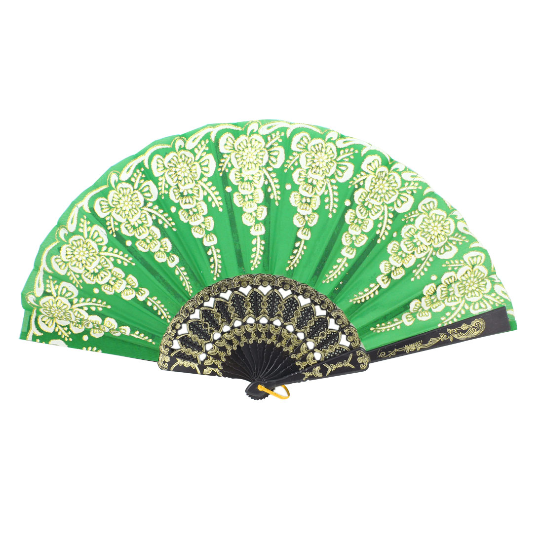 Black Embossed Frame Glitter White Flower Green Folding Hand Fan w Ring