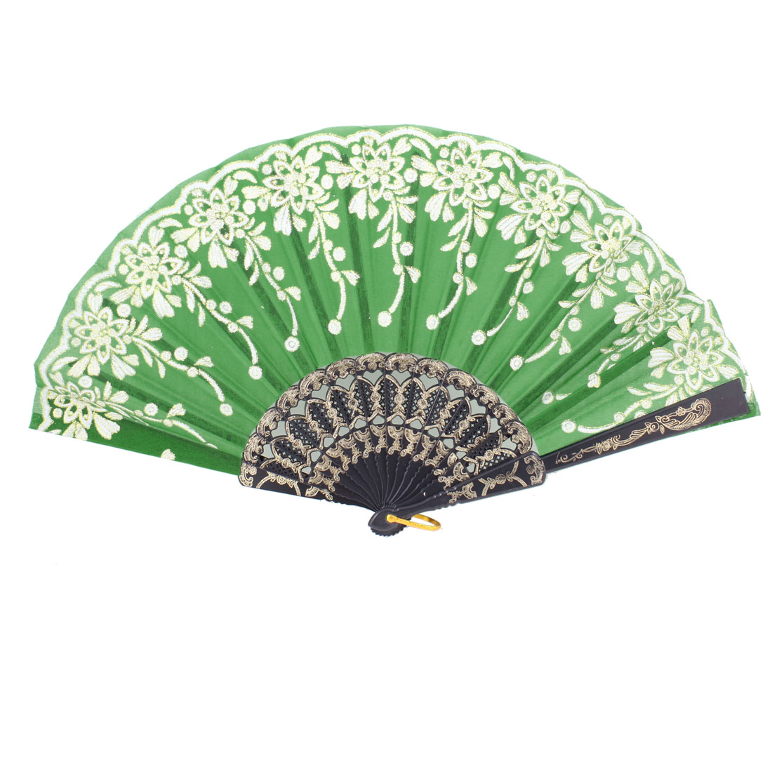 Green Wihte Black Plastic Rib Gold Tone Floral Foldable Hand Fan w Ring