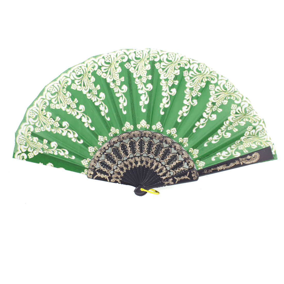 Nylon Hollow Out Handle Plastic Green Folding Metal Ring Hand Fan