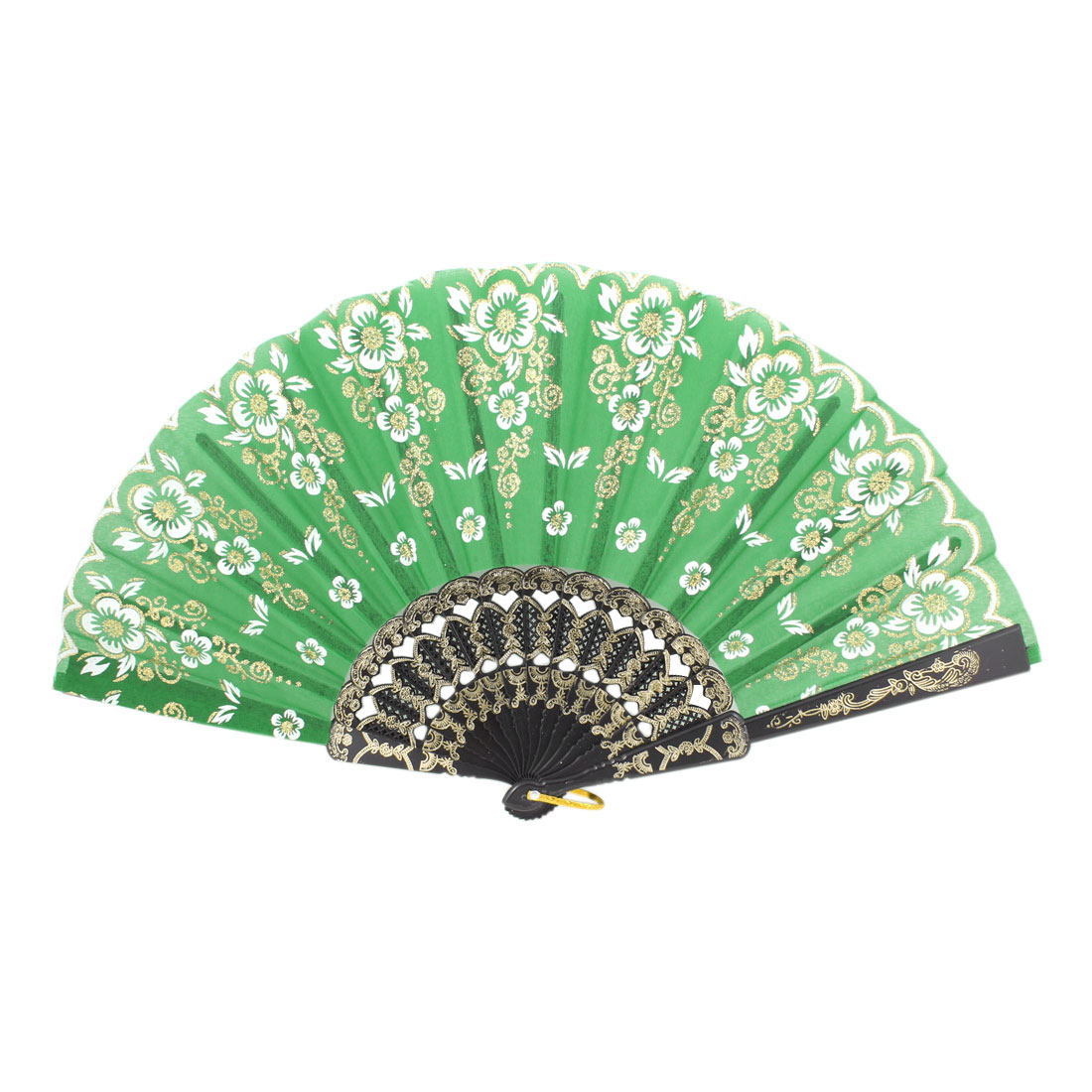 Black Plastic Embossed Frame Glitter Green Foldup Hand Fan w Ring