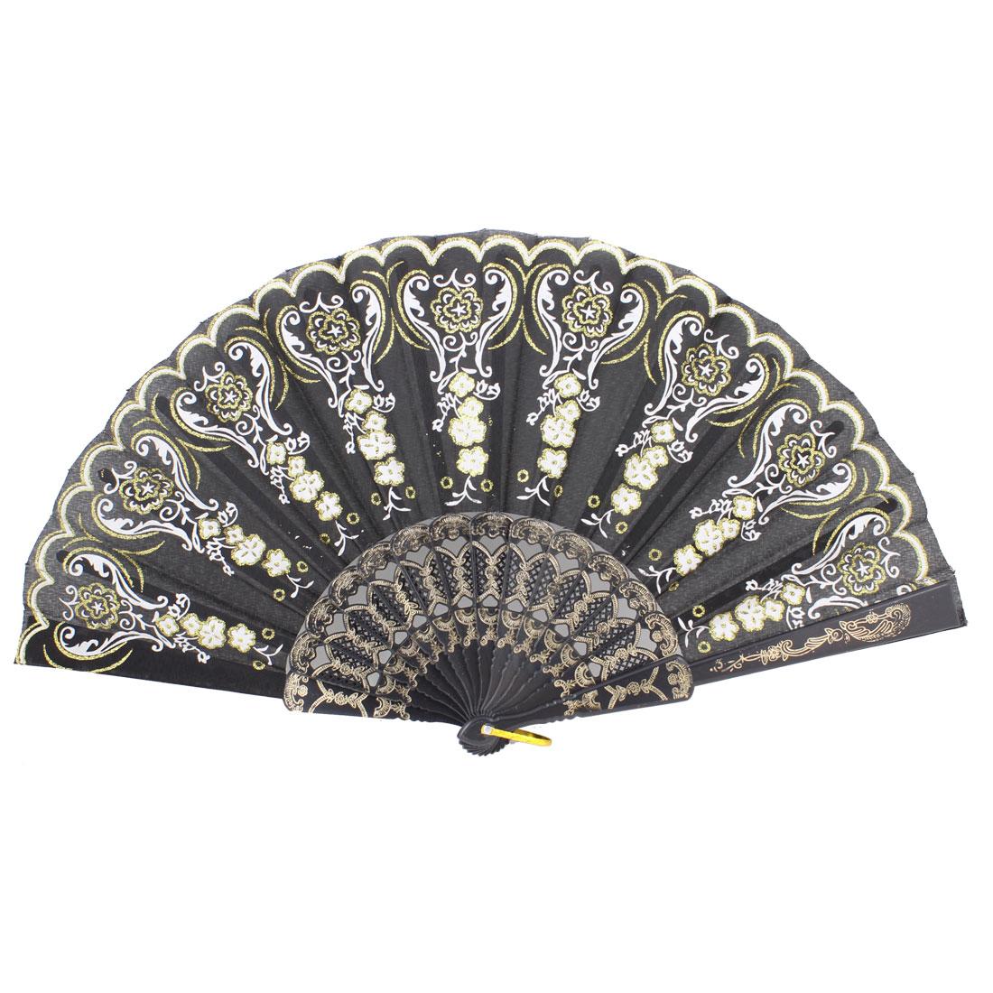 Black Nylon Plastic Rib White Flower Folding Hand Fan w Ring