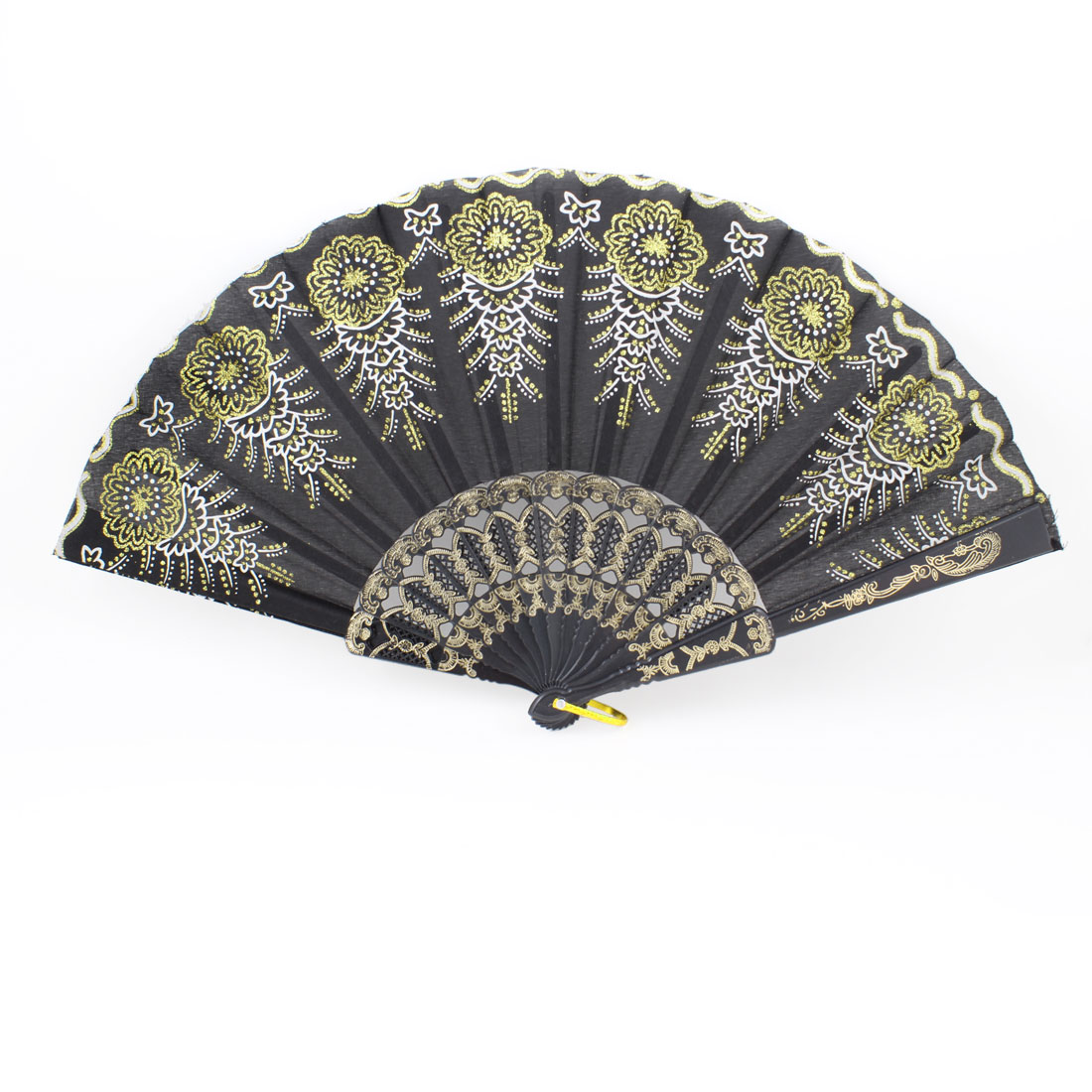 Gold Tone Flower Decor Nylon Black Plastic Folding Hand Fan w Metal Ring