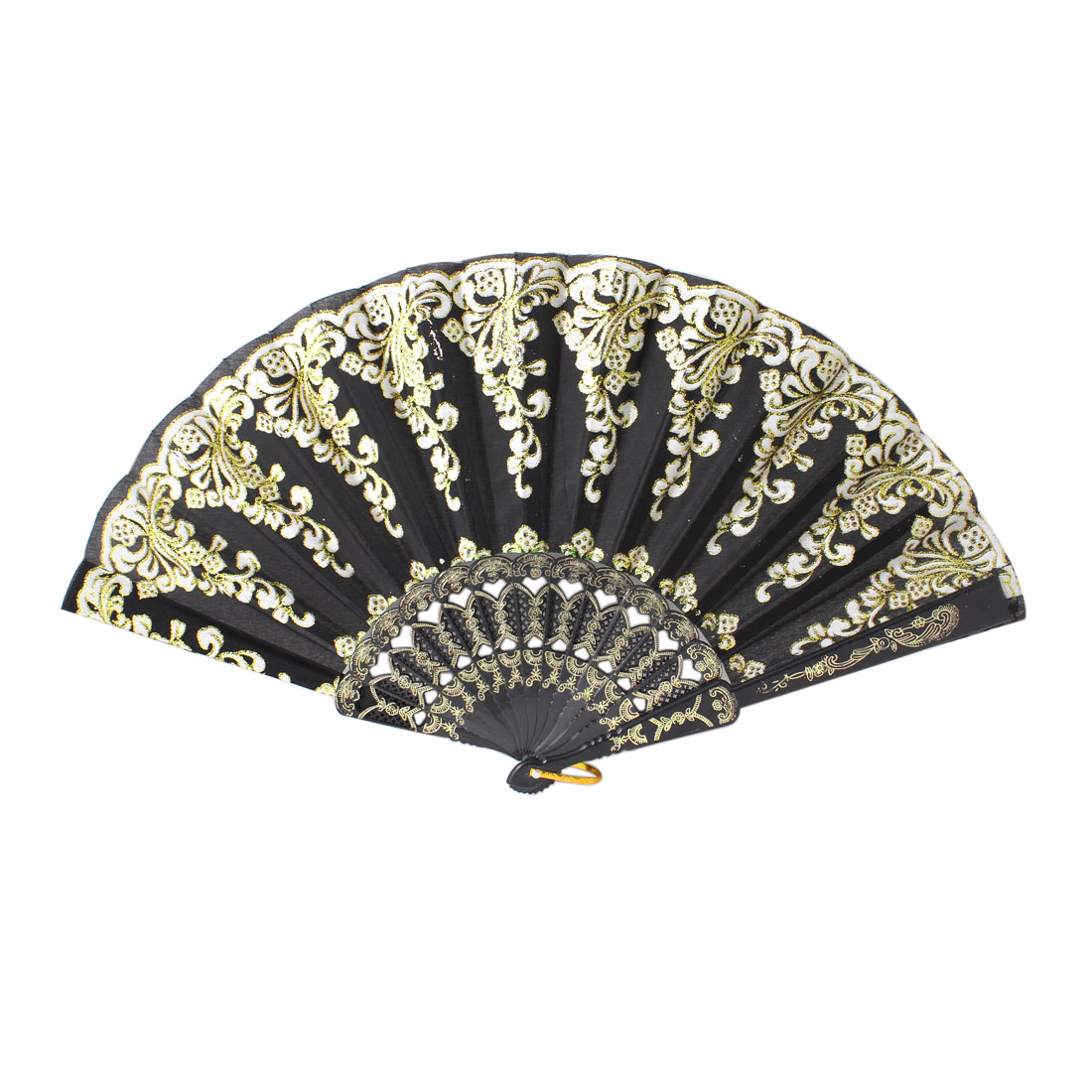 Gold Tone Floral Embossed Frame Glitter Black Foldup Hand Fan w Ring