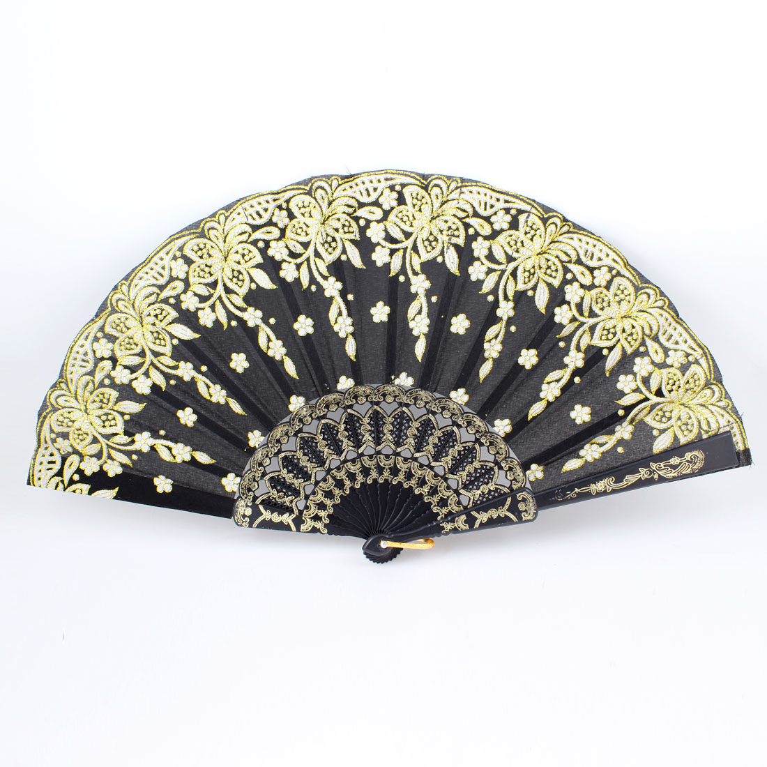 Black Embossed Frame Glitter White Flower Folding Hand Fan w Metal Ring